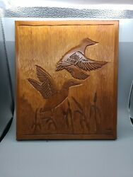 Vintage 2 Hand Carved Geese Ducks In Flight From Single Piece Of Wood. Nice.