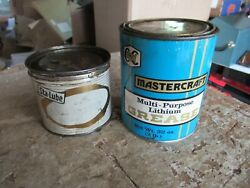 Vintage Pair Mostly Empty Grease Oil Cans Mastercraft Sta-lube   Lot 21-57-5