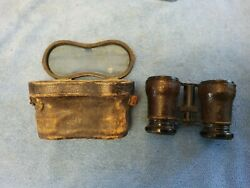 Antique Leather Covered Binoculars With Leather H8nged Lid Case Field Glasses