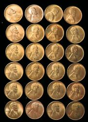1949 S Lincoln Wheat Cents 24 Coins Choice Uncirculated Red Coins