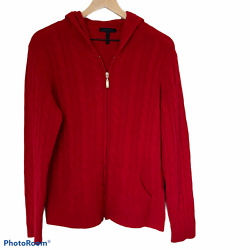 Enzo Mantovani 100 Cashmere Red Cardigan Hooded Cable Knit Full Zip Sweater Xl