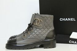New Sz 9 / 39.5 Gray Leather Quilted Cc Chain Combat Lace Up Ankle Boot