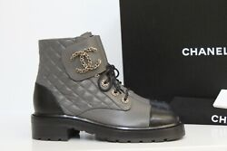 New Sz 6.5 / 37 Gray Leather Quilted Cc Chain Combat Lace Up Ankle Boot
