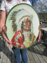 Vintage Original C1900 We Sell Skinners Satins Indian Chief Sign Tin Lithograph