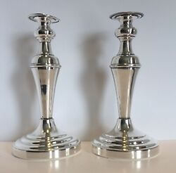 """English Silver Mfg Co Pair Of Candlestick Silver Plate 10.5"""" Tall"""