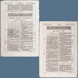 1611 King James Bible 1 Chronicles Jonah Title Page Leaf First Edition He Framed