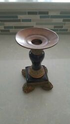 """Brass colored ceramic Brown amp; gold 6"""" Candlestick Holder."""