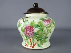Antique Jar Chinese Porcelain Eastern Painted With Lid Wood
