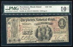 1875 1 The Phenix Nb Of Providence, Ri National Currency Ch. 948 Pmg Vg-10