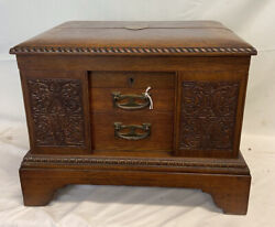 Walker And Hall Sheffield - Magnificent Carved Oak Box And Cutllery S/p Set.