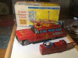 Yonezawa Toy Fire Chief Car Tin Toy Battery Operated Remote Control Vintage Jpn