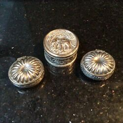 3 Old Vintage White Metal Pill Snuff Trinket Boxes Elephant Floral Shell Design