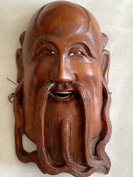 """Vintage Chinese Asian Wooden Mask Hand Carved Inlaid Eyes And Teeth Wall Décor 6"""""""