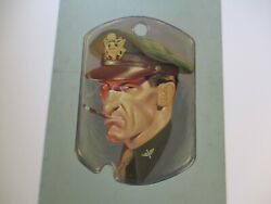 Antique Ww2 Vintage Wpa Era Painting Officer Rare Military Dog Tag Large Mystery