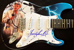 Christopher Lloyd Signed Guitar Back To The Future Custom Wrapped Art Beckett