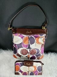 Coach F20016 Ashley Scarf Print Signature Sateen Shoulder Bag And Matching Wallet