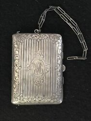 Antique Victorian Sterling Silver Chatelaine Dance Compact Coin Purse Embossed