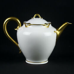 Haviland Limoges Silver Anniversary 3 Cup Teapot And Lid, Antique France Gold 19
