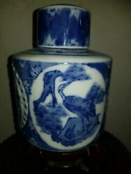 Antique Chinese Blue And White Porcelain Tea Caddy, Kangxi Period Mark
