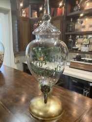 Rare 19th C Vatted Scotch Whiskey Glass Decanter With Raised Lettering And Spigot