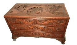 Vintage Chinese Camphor Wood Trunk / Chest Carved With Drawers