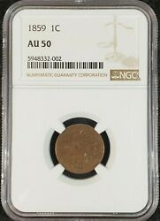 1859 Indian Head Cent Ngc Au50 5948332-002 Exquisite Coin Rare