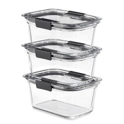 Rubbermaid Brilliance Glass Food Storage Containers, 4.7-cup Food Containers Wit