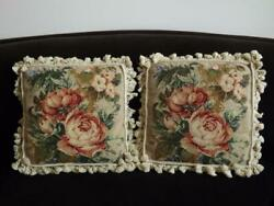 2 Needlepoint Pillows Cushions Cabbage Roses Laine Glands 43.2cmx 43.2cm