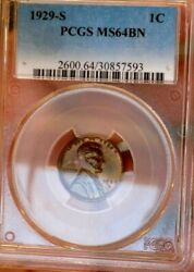 Wheat Cent 1929 S Pcgs Ms 64+++ Toned Beauty Stunning Eye Apeal Monster Penny