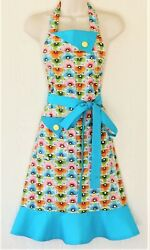 Retro Blue Floral Full Apron For Women, Vintage Style Apron With Flowers