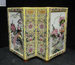 Chinese Antique Hand Painting Porcelain Twin Yellow Vase Marked Qianlong