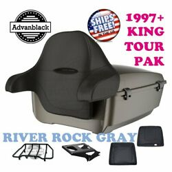 River Rock Gray King Tour Pack Trunk Black Hinge Latch For 97-21 Harley Electra