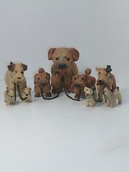 Occupied Japan Hand Carved Wooden Miniature Terrier Dog Figurines Lot of 9 dogs