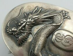 Antique 1900s Tuck Chang Chinese Export Sterling Silver Dragon Vanity Brush