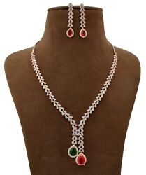 Rose Gold Plated Indian Necklace Earring Crystal Fashion Party Wear Fine Jewelry