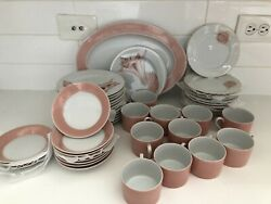 Fitz And Floyd Coquille Rondelet Pink Shell Salad Plates Cups Saucers Platter