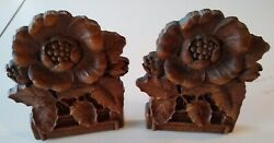 Pair Of Vintage Ornawood Poppy Flower Bookends With Metal Base, Felted Bases