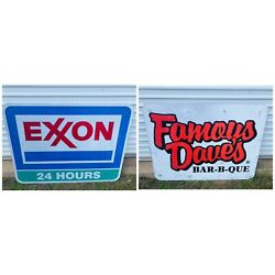 Exxon - Large Highway Road Sign 4ft - Vintage Exit Sign - Famous Daves Bbq