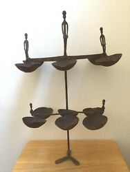 Old African Hand Forged Iron Dogon Ceremonial Ritual Oil Lamp Antique Vintage