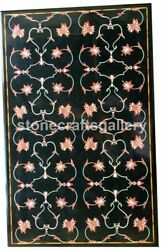 Black Marble Dining Table Top Carnelian Mosaic Floral Inlay Art Living Deco B215
