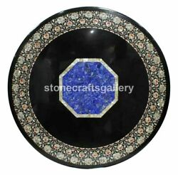 Black Marble Dining Top Table Pietra Dura Lapis And Mop Floral Inlay Art Deco B225