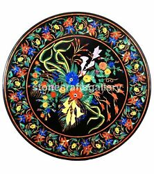 Black Marble Dining Table Top Marquetry Multi Stone Floral Inlay Home Decor B229