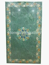 Green Marble Dining Side Table Top Carnelian Mop Floral Inlay Living Decors B202