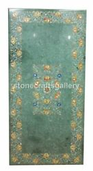 Green Marble Dining Table Top Carnelian Floral Inlay Home Garden Art Decors B195