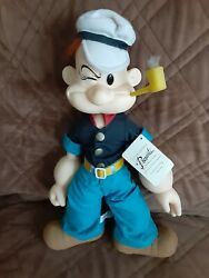 vintage 1980s Plush Popeye With Tags/,pipe W/smoke/ And Attached Stand
