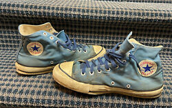 Vintage 1970s Converse Chuck Taylor Blue Canvas Sneakers Made In Usa Size 10