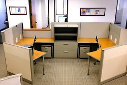 24 - 86x54 Steelcase Cubicles And 2-drawer Mobile File Cabinet With Padded Seat