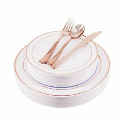 125 Pieces Rose Gold Disposable Plastic Dinnerware Set Heavy Duty Party Wedding