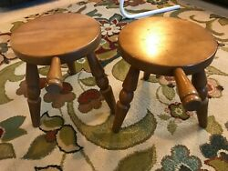 2 Vintage Authentic Furniture Products 3 Leg Milking Stools W/handle