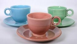 3 Vintage Fiesta Ware Turquoise, Blue And Rose Dinnerware Cups And Saucers 6d